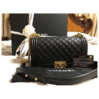 CHANEL Le Boy Bag Caviar Black GOLD Hardware old medium USED ONCE! AUTHENTIC - COD FREE SHIPPING