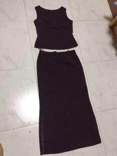 Chocolate Brown long skirt and sleeveless top