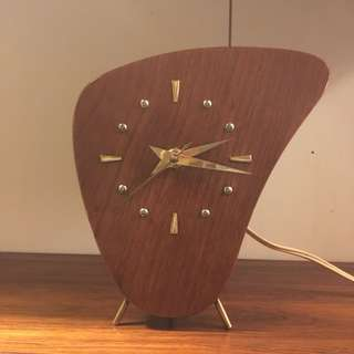 50s danish modern german teak table clock