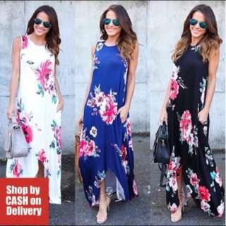 Floral long back Maxi Dress