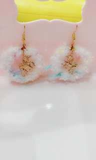 Unicorn 🦄 Fluffy Ring Earrings (Instock)