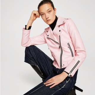 Mango Appliqué Biker Jacket in Light Pink