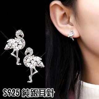 ╭✿蕾兒0509✿╮IB069-正韓精工白色喜悅火鶴微鑲鋯石s925純銀耳針防過敏耳針耳釘耳環