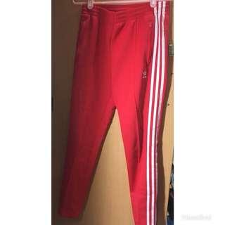 Adidas 紅色運動休閒長褲