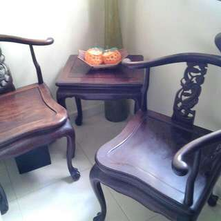 3 Pc Rosewood Set.old Rosewood With Carving. Heavy Old Rosewood