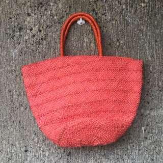 Woven beach bag - flamingo