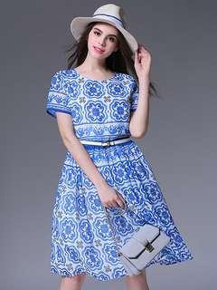 AO/HYC072721 - Charming Summer Blue Floral Short Sleeve Chiffon Dress
