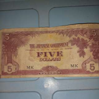 Old Malaysia Japanese five dollars