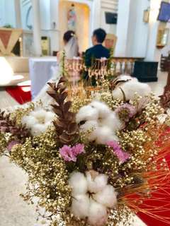 Cotton dried flowers bouquet for brides maid
