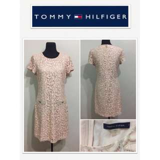 Tommy Hilfiger Peach Almond Lace Sheath Dress