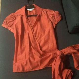 Zara Basic Orange Wraparound Blouse (US S)
