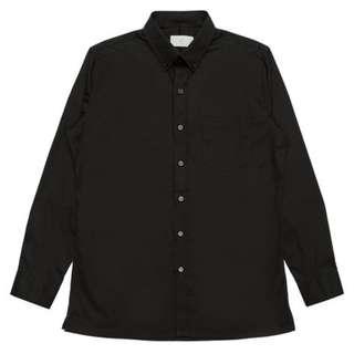 Plain-me彈性棉質鈕釦領襯衫 黑M 全新 COP0218