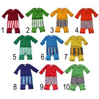 Baby Romper Baju Melayu with Stripe Samping