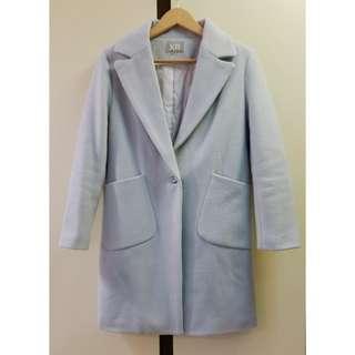 韓款粉藍色甜美毛呢厚大衣