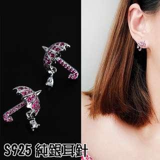 ╭✿蕾兒0509✿╮IB068-正韓精工雨中散步鋯石雨傘s925純銀耳針防過敏耳針耳釘耳環