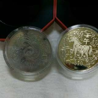 2001 & 2002 Singapore $10 cupro-nickel proof like coin