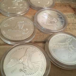 1oz Silver Canadian Birds 2015 & 2014