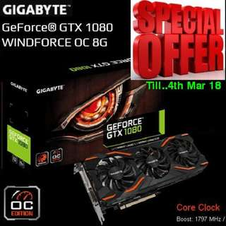 "Gigabyte GTX 1080 WINDFORCE OC 8G. ( Special Offer till 4th March 2018 ) ""U deserve Gaming at a Cheaper rate."""