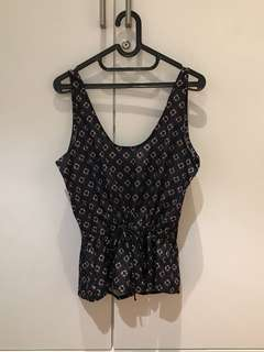 Navy Blue Cute Sleeveless Top (Size S up to M)