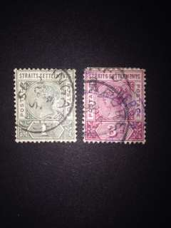 STRAITS SETTLEMENT QV, LOT OF USED STAMP x2 PCS!!!