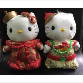 🚚 🔥絕版品-全新中國皇族Hello Kitty玩偶一對