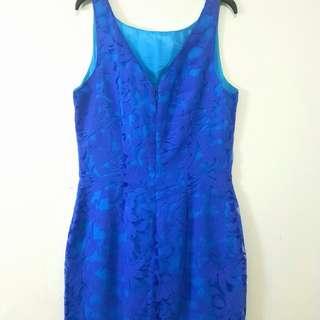 Mini dress bahan brukat lapis puring mewah biru tosca
