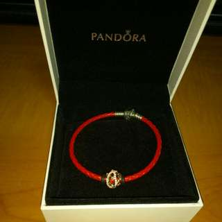 Pandora red leather with charm