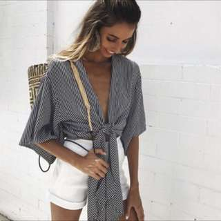 Bohemian Front Tie Stripped Top
