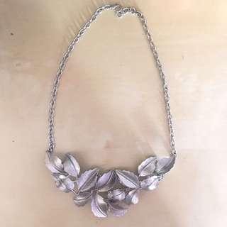 silver leaf statement necklace