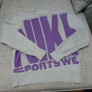 🚚 Nike nsw 文字logo長袖圓領T 灰紫 2手