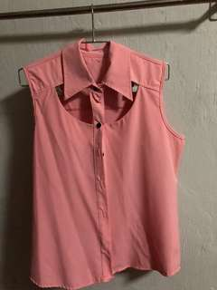 Pink Chiffon Top with cut out