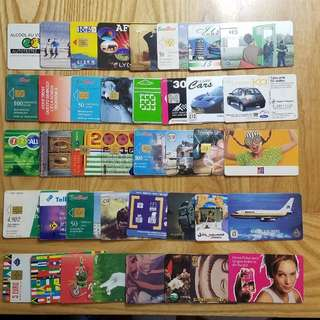 1990~2000年代世界各國電話卡/充值卡/SIM卡40張 廣告明星動物體育珍藏B