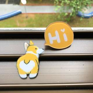 Corgi Acrylic Badge Pin Brooch ‼️5 FREE 1‼️