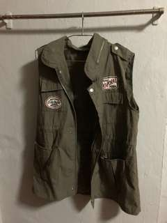 Army Green Vest with zipper