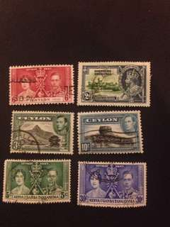 BRITISH COMMONWEALTH, LOT OF USED STAMPS x6 PCS