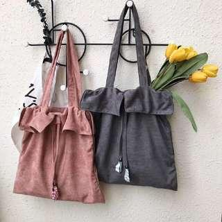 PO Minimal Suede Drawstring Tote Bag