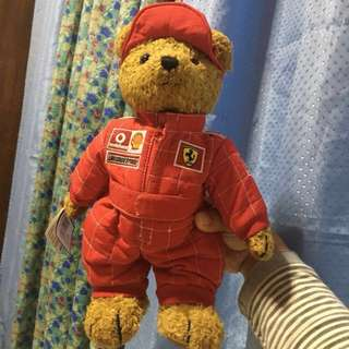 REPRICED Collectible item: Teddy bear F1 Ferrari driver