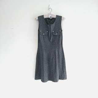 🚚 #限時特價 NET 氣質修身口袋拉鍊無袖質感休閒洋裝。灰