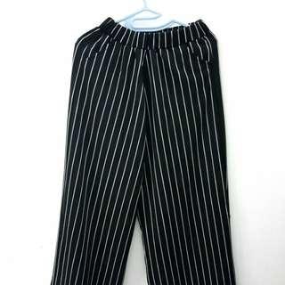 Celana Kulot Panjang Motif Garis - Stripe Cullote Pants