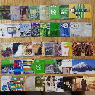 1990~2000年代世界各國電話卡/充值卡/SIM卡40張 廣告明星動物體育珍藏D