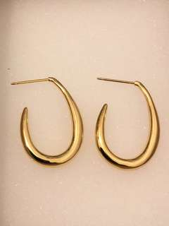 18K gold plated curved earring