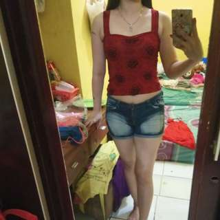 Crop top Maroon Flower New yah