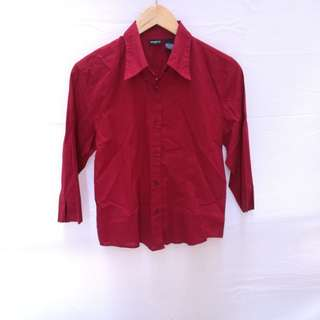 Red Semi Cropped Blouse