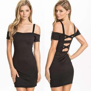 Po: sexy cross back off shoulder black bodycon dress