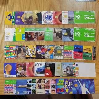 1990~2000年代世界各國電話卡/充值卡/SIM卡40張 廣告明星動物體育珍藏E
