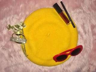 Beret Hat in Mustard