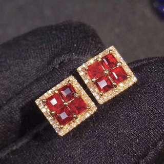 18K玫瑰金 紅寶石鑽石耳釘