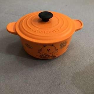 7-11 line friends x Le creuset 竹福糖果盒 貯物盒連蓋 圓形鍋橙色 印花換購
