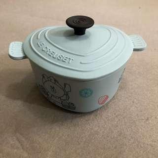 7-11 line friends x Le creuset 竹福糖果盒 貯物盒連蓋 圓形鍋藍色 印花換購
