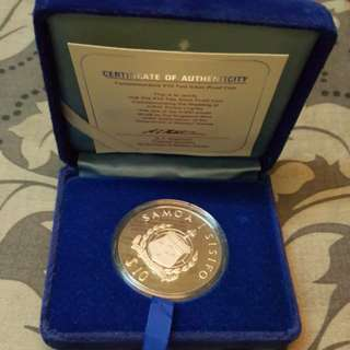 Commemorative $10 Tala silver proof coin. 1981
